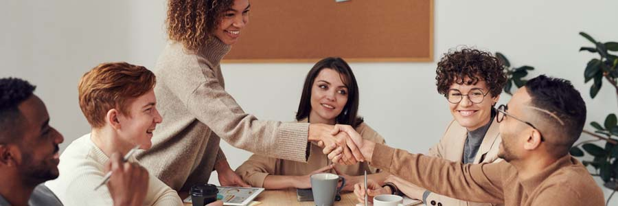 colleagues shaking hands at a meeting