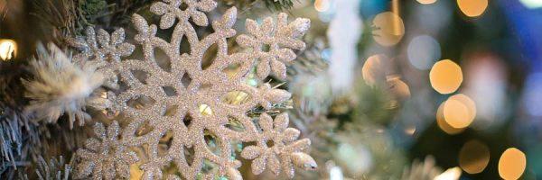 snowflake ornament on a tree