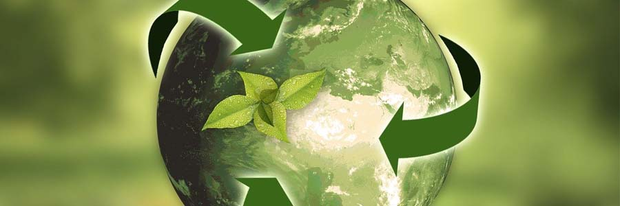 graphic of green earth with a plant sprouting and recycling arrows