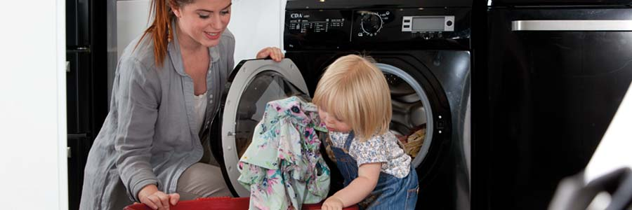 Mom and child doing the laundry
