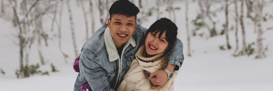 A couple embracing outdoors in winter