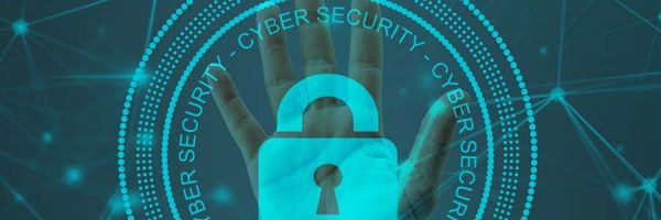 Hand behind cyber security logo and padlock